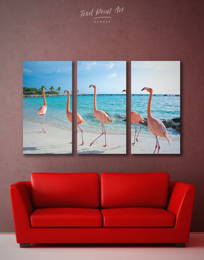 3 Pieces Flamingo Wall Art Canvas Print - 3 Panels Animal Beach House beach wall art beach wall art for bathroom