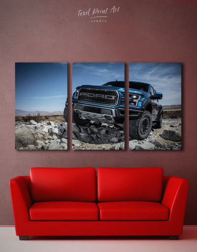 3 Pieces Ford Raptor Wall Art Canvas Print - 3 Panels bachelor pad Car garage wall art Hallway
