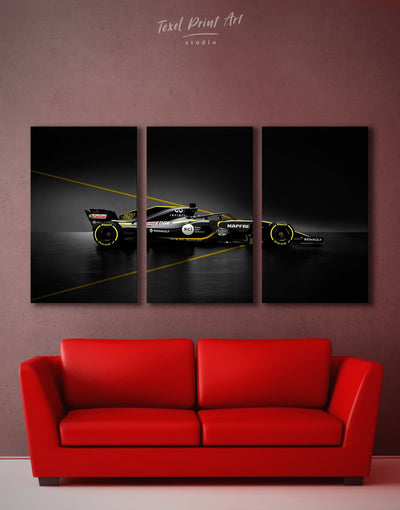 3 Pieces Formula 1 Renault Racing Car Wall Art Canvas Print - 3 Panels bedroom Black Car garage wall art