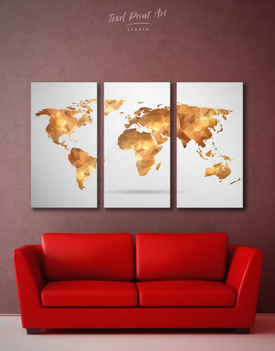 3 Pieces Gold Abstract Map Wall Art Canvas Print - 3 Panels Abstract map bedroom Geometric geometric wall art