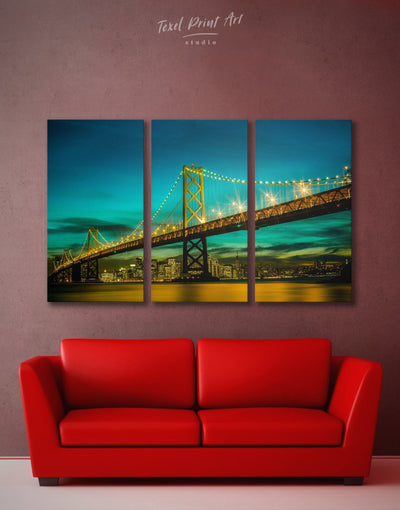 3 Pieces Golden Gate Wall Art Canvas Print - 3 Panels blue Bridge Golden Gate bridge wall art green
