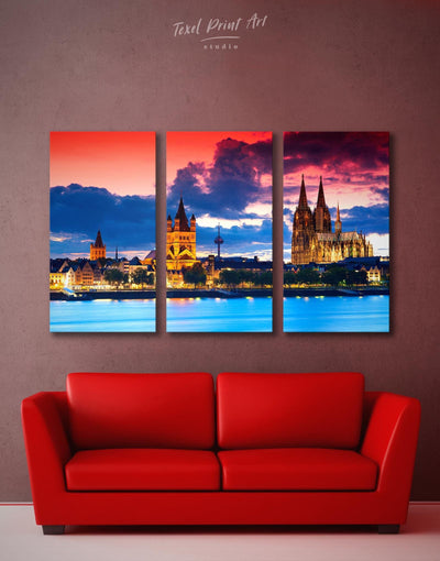 3 Pieces Hamburg Wall Art Canvas Print - Canvas Wall Art 3 Panels bedroom City Skyline Wall Art Cityscape Hallway