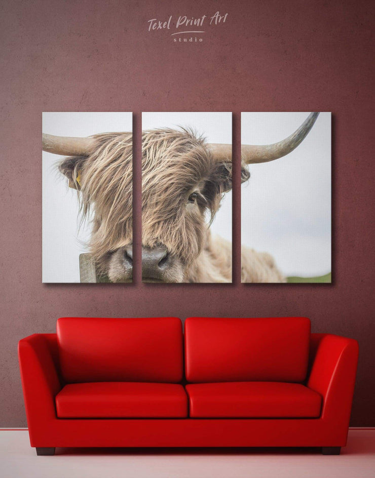 3 Pieces Highland Cow Wall Art Canvas Print - 3 Panels Animal bedroom cow canvas wall art Dining room