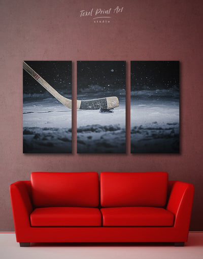 3 Pieces Hockey Puck Wall Art Canvas Print - 3 Panels bachelor pad game room wall art hockey wall art living room wall art