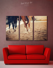3 Pieces Horse Racing Wall Art Canvas Print