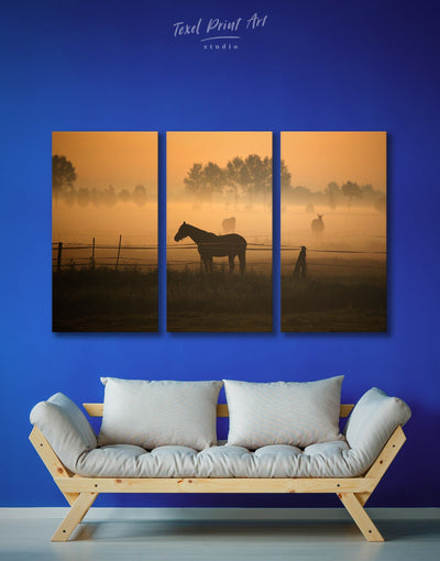 3 Pieces Horse Silhouette Wall Art Canvas Print - 3 Panels Animal Animals Brown Farmhouse