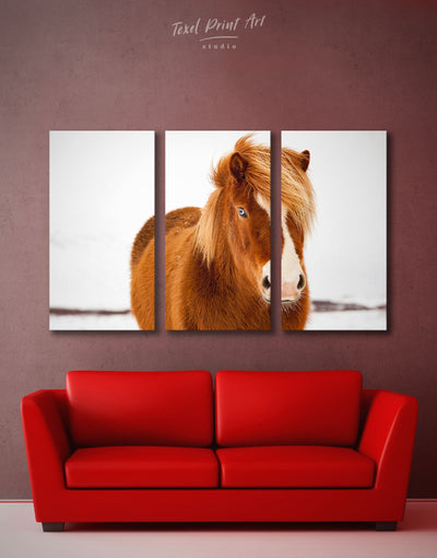 3 Pieces Icelandic Horse Wall Art Canvas Print - 3 Panels Animal Animals bedroom brown