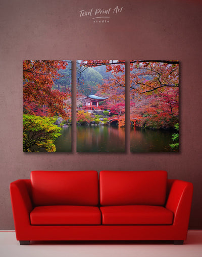 3 Pieces Japan Garden Wall Art Canvas Print - 3 Panels japanese wall art Living Room Nature Office Wall Art