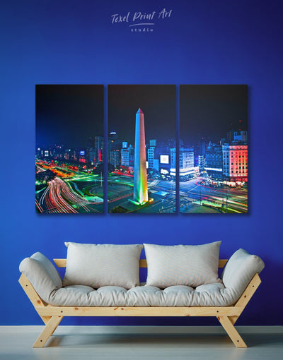 3 Pieces July 9 Avenue Wall Art Canvas Print - 3 Panels bedroom Blue City Skyline Wall Art Cityscape