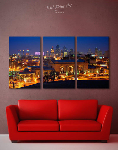 3 Pieces Kansas City Skyline Canvas Wall Art - Canvas Wall Art 3 Panels
