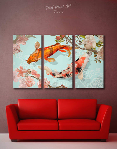 3 Pieces Koi Fish Swimming Together Wall Art Canvas Print - 3 Panels Animals asian wall art bedroom japanese wall art