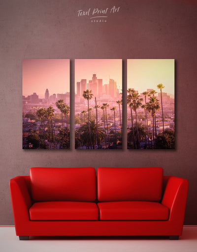 3 Pieces LA Skyline Canvas Wall Art - Canvas Wall Art 3 Panels bedroom City Skyline Wall Art Cityscape florida wall art