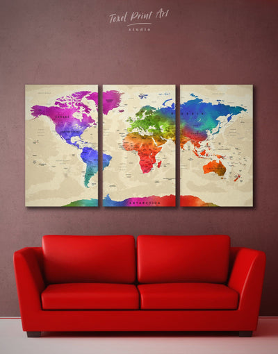 3 Pieces Large Watercolor World Map Wall Art Canvas Print - 3 Panels Blue blue and green wall art contemporary wall art Green
