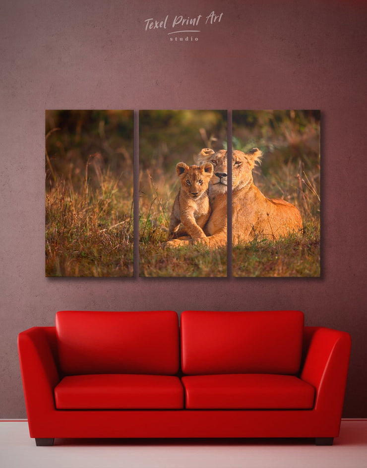 3 Pieces Lioness Wall Art Canvas Print - 3 Panels Animal Animals lion wall art Nature