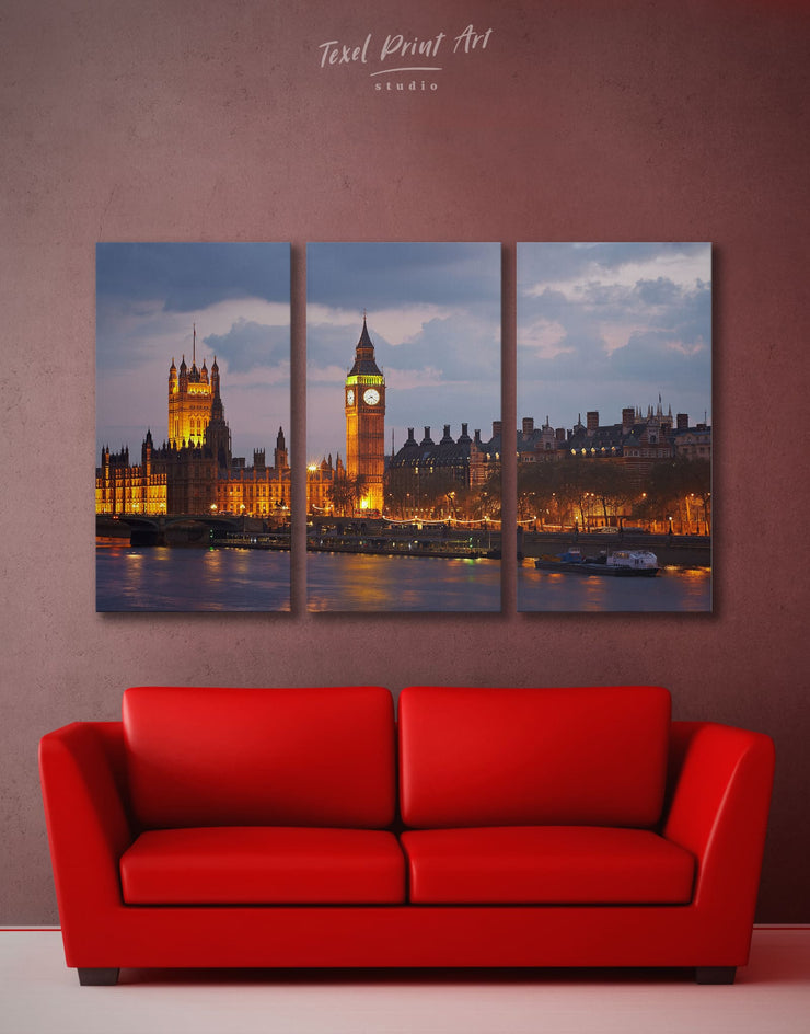 3 Pieces London Wall Art Canvas Print - 3 Panels bedroom City Skyline Wall Art Cityscape Living Room