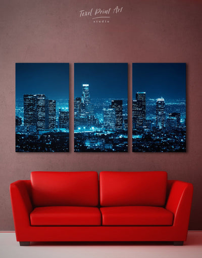 3 Pieces Los Angeles Skyline Wall Art Canvas Print - Canvas Wall Art 3 Panels bedroom City Skyline Wall Art Cityscape Hallway