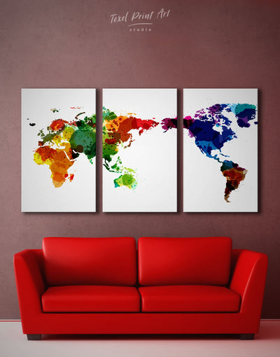 3 Pieces Map of the World Wall Art Canvas Print - 3 Panels Abstract map corkboard Hallway Living Room