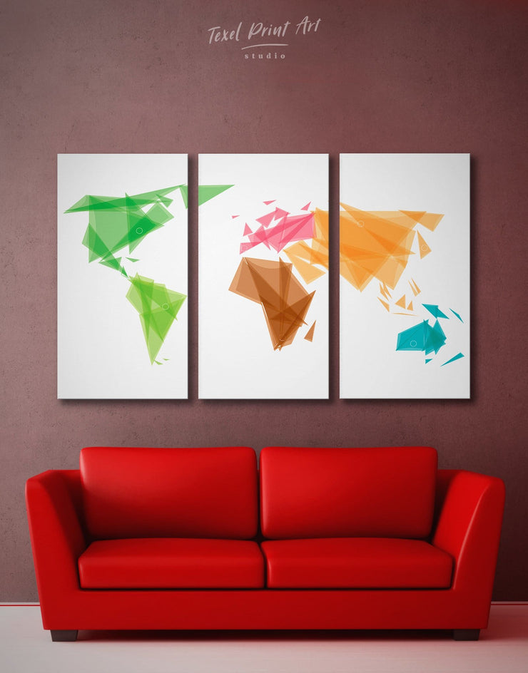 3 Pieces Modern World Map Wall Art Canvas Print - 3 Panels Abstract Abstract map bedroom brown