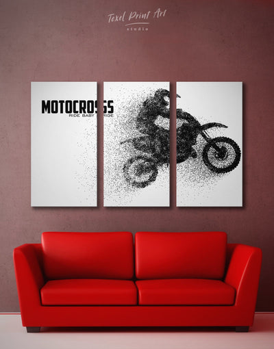3 Pieces Motocross Wall Art Canvas Print - Canvas Wall Art 3 Panels black black and white wall art Hallway Living Room
