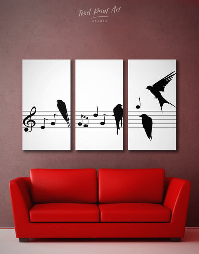 3 Pieces Music Sheet Wall Art Canvas Print - 3 Panels bedroom Black black and white wall art Hallway