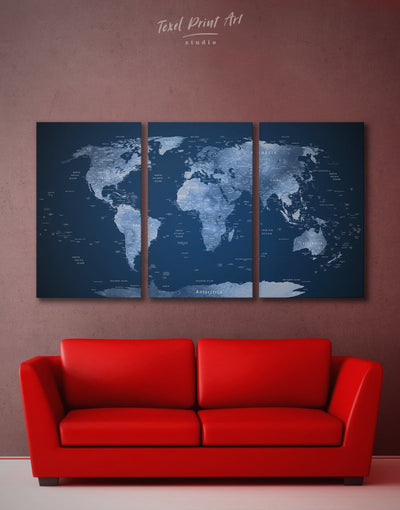 3 Pieces Navy Blue World Map with Countries Wall Art Canvas Print - 3 Panels bedroom Blue Blue wall art for living room contemporary wall