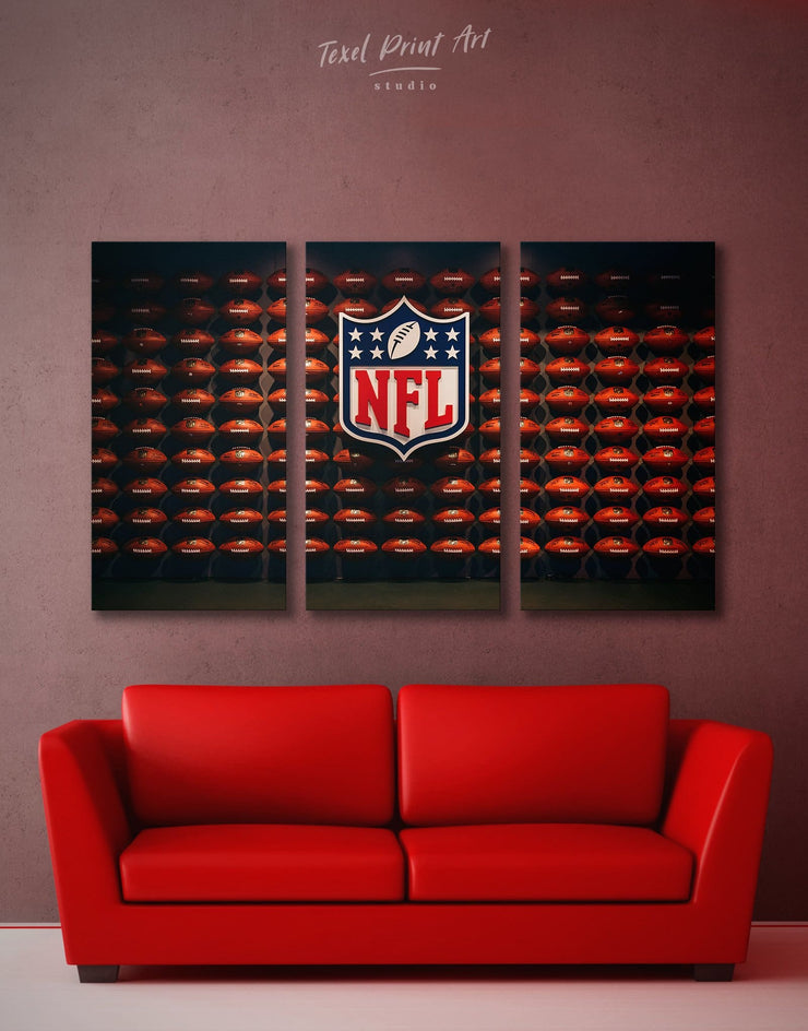 3 Pieces NFL Canvas Wall Art - Canvas Wall Art 3 Panels bachelor pad Hallway Living Room NFL