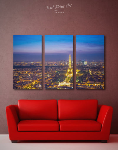3 Pieces Night Paris Wall Art Canvas Print - 3 Panels bedroom eiffel tower wall art french wall art Living Room