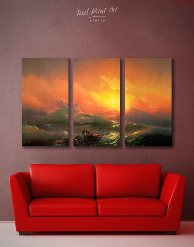 3 Pieces Ninth Wave by Aivazovsky Wall Art Canvas Print - 3 Panels bedroom Hallway Living Room Nature