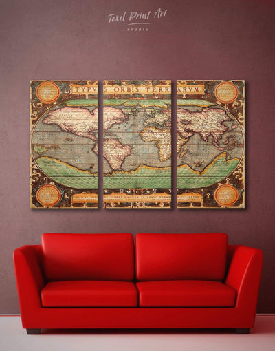 3 Pieces Old Map Wall Art Canvas Print - 3 Panels Antique Antique world map canvas bedroom Brown
