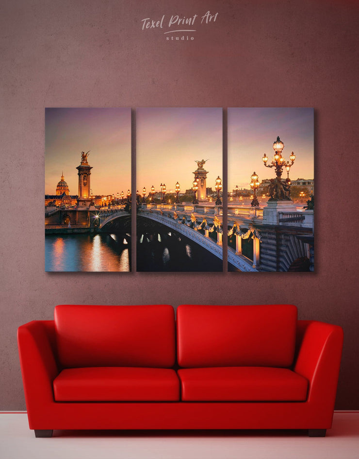 3 Pieces Paris Bridge Wall Art Canvas Print - 3 Panels Bridge Dining room Hallway Living Room