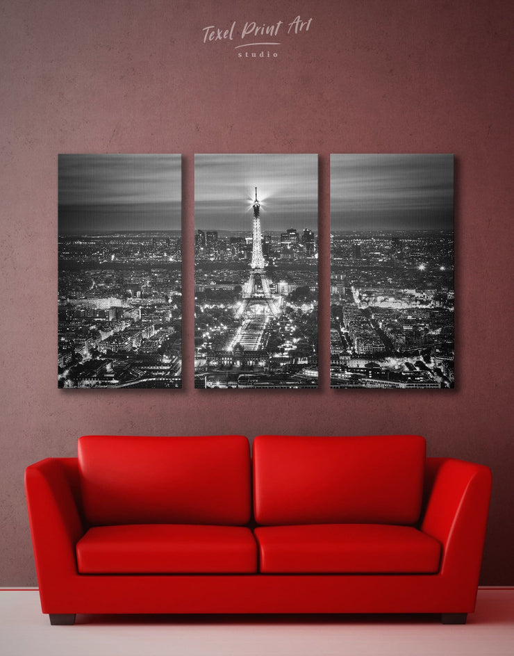 3 Pieces Paris Wall Art Canvas Print - 3 Panels bedroom black and white wall art Cityscape eiffel tower wall art