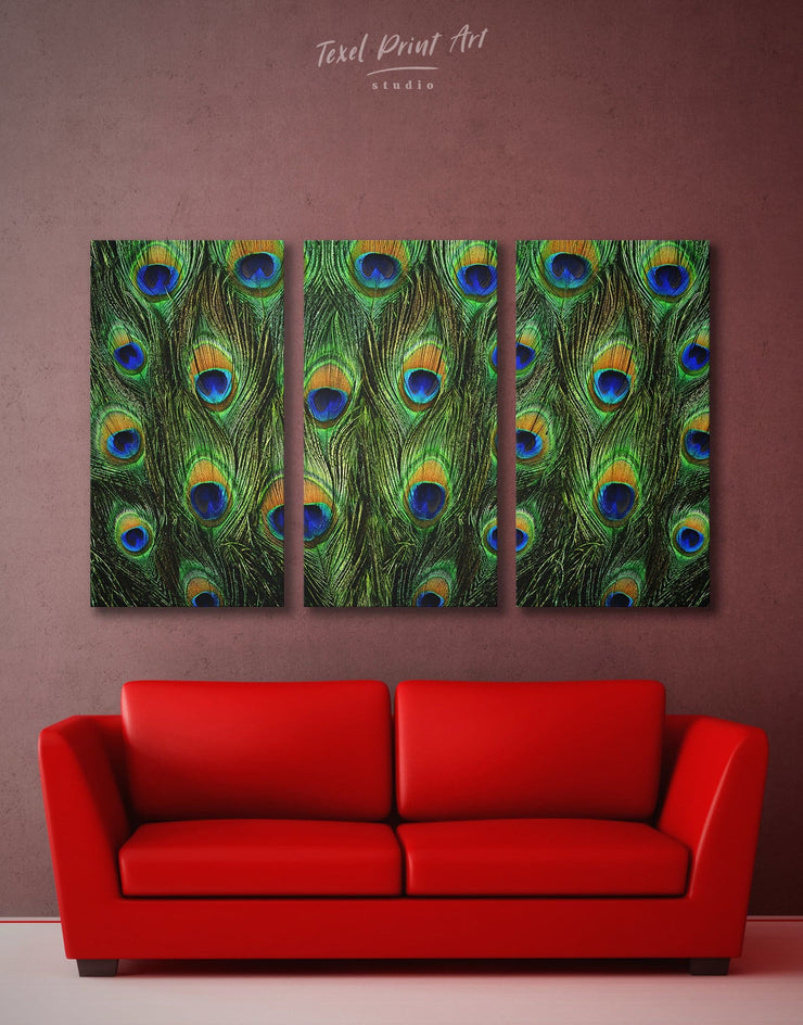 3 Pieces Peacock Feathers Wall Art Canvas Print - 3 Panels Abstract bedroom Green Living Room