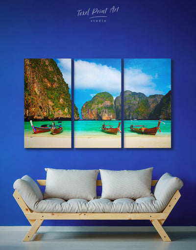3 Pieces Phuket Beach Wall Art Canvas Print - 3 Panels Beach House beach wall art bedroom coastal wall art
