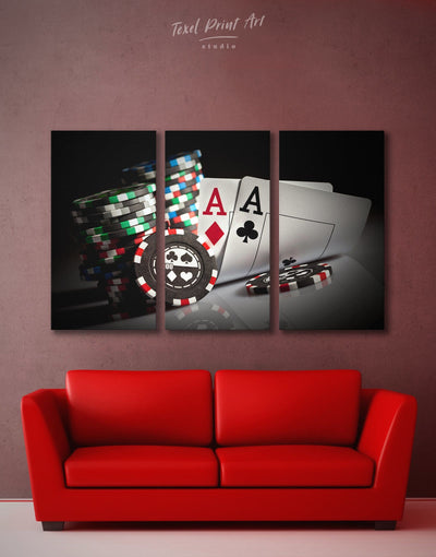 3 Pieces Poker Room Wall Art Canvas Print - 3 Panels game room Hallway Living Room Poker