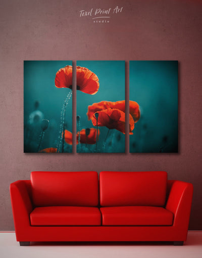 3 Pieces Poppy Wall Art Canvas Print - 3 Panels bedroom Blue Dining room flora