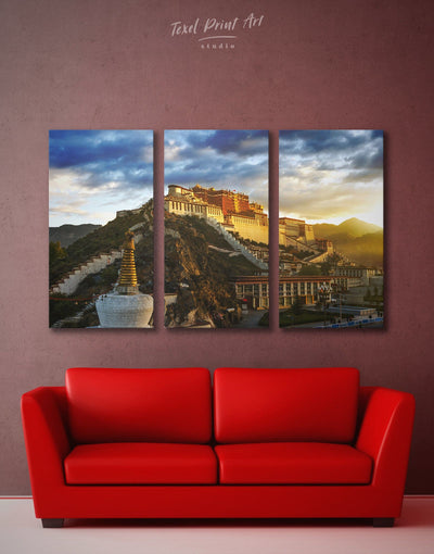 3 Pieces Potala Palace Wall Art Canvas Print - 3 Panels Architectural Wall Art bedroom buddhist wall art Dining room