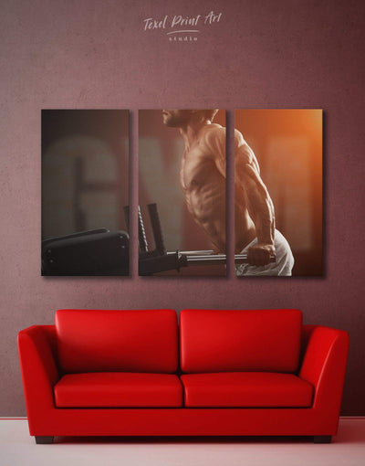 3 Pieces Powerlifting Wall Art Canvas Print - 3 Panels bachelor pad Home Gym inspirational wall art Living Room