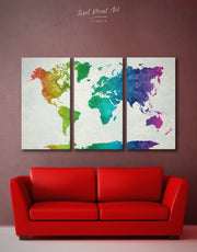 3 Pieces Rainbow Map Wall Art Canvas Print