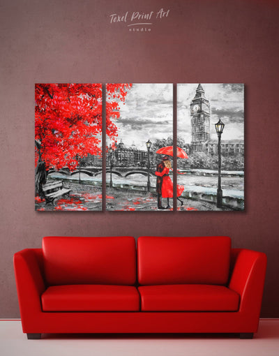 3 Pieces Rainy London Wall Art Canvas Print - Canvas Wall Art 3 Panels bedroom Living Room london wall art love wall art