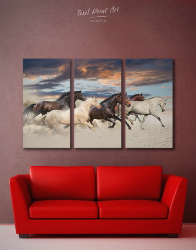 3 Pieces Running Horse Wall Art Canvas Print - 3 Panels Animal bedroom Dining room dining room wall art