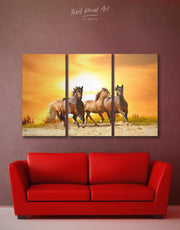 3 Pieces Running Horses Wall Art Canvas Print
