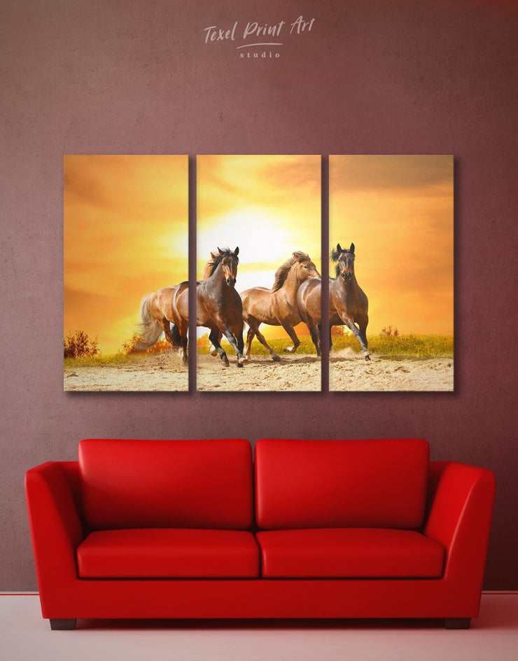 3 Pieces Running Horses Wall Art Canvas Print - 3 Panels Animal Animals Farmhouse horse wall art