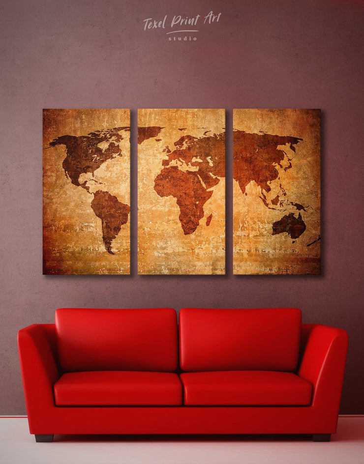 3 Pieces Rustic Map Wall Art Canvas Print - 3 Panels Abstract Abstract map bedroom Brown