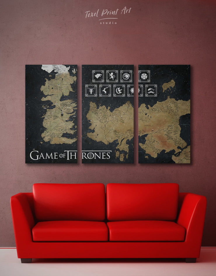 3 Pieces Seven Kingdom Westeros Map with Houses Sigil Wall Art Canvas Print - 3 Panels bedroom black and gold wall art Game of Thrones