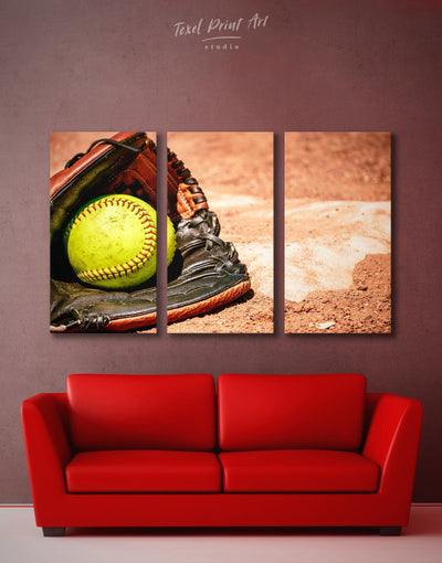 3 Pieces Softball Wall Decor Canvas Print - Canvas Wall Art 3 Panels Living Room Office Wall Art softball Sports