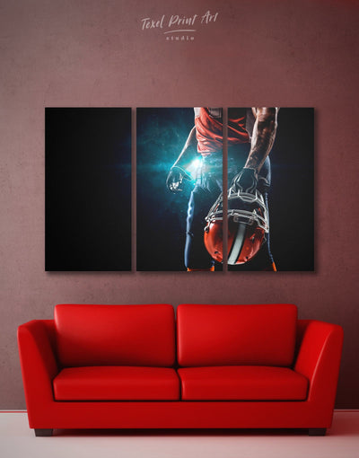 3 Pieces Sport Football Wall Art Canvas Print - 3 Panels bachelor pad bedroom Black Blue