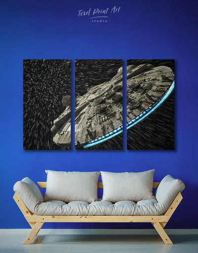 3 Pieces Star Wars Falcon Wall Art Canvas Print - 3 Panels bedroom black and grey wall art Hallway Kitchen