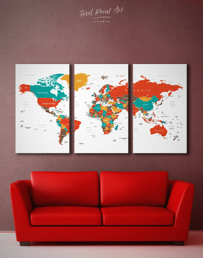 3 Pieces Stylish Push Pin World Map Wall Art Canvas Print - 3 Panels green Living Room Office Wall Art Pushpin Travel Map