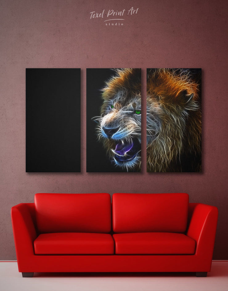 3 Pieces Stylized Lion Wall Art Canvas Print - 3 Panels Animal Animals bedroom Black