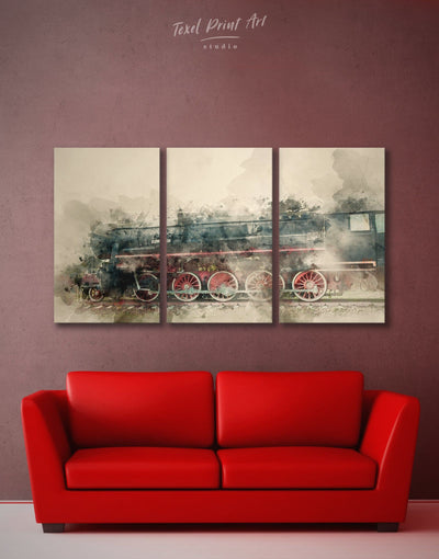3 Pieces Train Wall Art Canvas Print - 3 Panels bedroom Hallway Living Room Office Wall Art